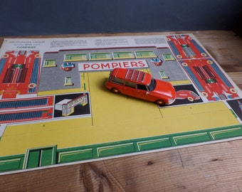Vintage FRENCH 1950s cut out and make a firemen station   Lovely decorating print