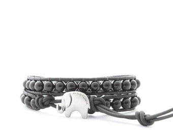 Rock'n Roll Silver and Black Lucky Elephant Button Leather Wrap Bracelet - the Lucky Elephant Exclusive