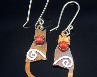 Silver Patina Cat Earrings with Bamboo Coral and Mystic Spirals, Tiny Sitting Kitty Earrings, Sterling Silver Cat Earrings, Red Coral