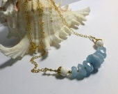 Aquamarine & White Coral Necklace, Gold Filled, Blue Stone Jewelry, Aquamarine Jewelry, Birthstone Jewelry