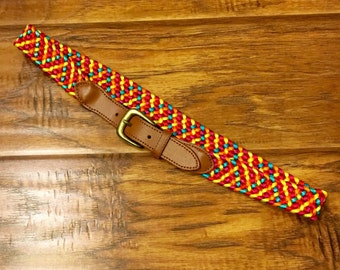 Woven Multi Color belt with Leather ends by Donna Katz
