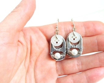 SODA TAB EARRINGS  - Button Earrings With Pearls - white/silver - for girls, teens and women - upcycled/recycled/eco-friendly - under 15.00
