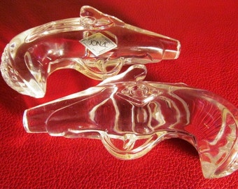 LABORSALEWEEK Vintage Cut Crystal Dueling Flintlock Pistols by JONAL of West Germany