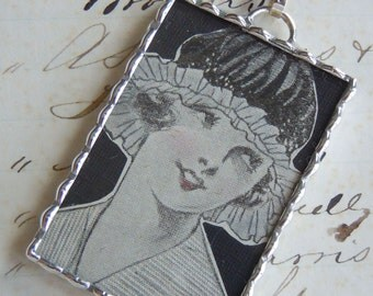 Fiona & The Fig - Double Sided - 1920's ART DECO Era Flapper - Antique Lace-Soldered Necklace Pendant Charm