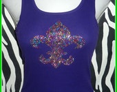 Mardi Gras tank top Many colors available Purple Fleur di Lis tank top NOLA tank top Mardi gras parade New orleans sparkle fleur di lis t