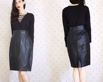 Vintage 1980s Leather Skirt// High waisted geniune leather skirt// 80s black Leather pencil skirt// Chia Vintag
