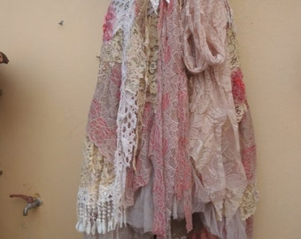"""20%OFF vintage inspired extra shabby wrap skirt...a work of art 38"""" across plus ties..."""