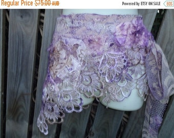 """20%OFF gothic bohemian gypsy lagenlook woodland shabby belt...34"""" across  plus long ties...large FREE SHIPPING"""