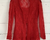 lace shirt, red 90s vintage romantic sheer lace long sleeved blouse top, 90's goth, womens small s