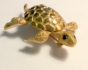 Vintage Monet Signed Gold Turtle Green Rhinestone Eyes  Online Vintage, vintage clothing, home accents, vintage dress