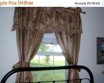 Vintage New Orleans Curtains Brown Palm Curtain Panel Fringe Stripes Winter Brown Weather Light Resilient
