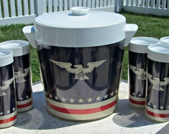 Vintage Patriotic Plastic Thermo-Serv Tumblers and Ice Bucket Set - Insulated Stars, Stripes, Flag, Eagle Drinking Glasses & Ice Bucket