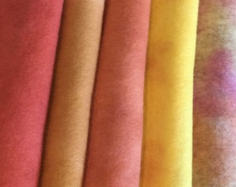 PURE WOOL FELT**5 sheets**Hand Dyed**Autumn Shades **Craft Supply**Steiner Toys**Waldorf Dolls......free shipping in Australia.......