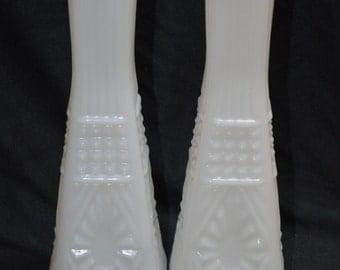 Unique Pair Milk Glass Bud Vases
