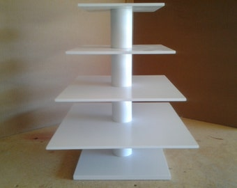 4 Tier Square Custom Made Cupcake Stand.  Holds up to 68 Cupcakes.