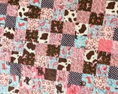 Cowgirl Quilt Country Western Scrappy Riley Blake Quilt Ready to Ship Crib Size 30X40