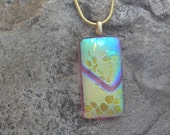 Golden Flower Necklace Fused Dichroic Glass Yellow Pendant
