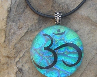 Om Necklace Dichroic Fused Glass Pendant Om Jewelry