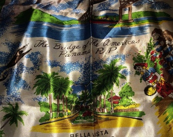 Vintage Scarf. Panama Souvenir. Vintage Satin Scarf. Panama