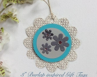 Set of 6 TEAL FLOWER Gift Tags
