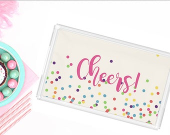 Personalized Lucite Tray - Cheers Party Tray - Monogram Acrylic Tray - New Couple Gift - Hostess Gift