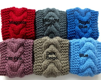Hand Knitted Cable Headband, Headwrap, Ear Warmer 100% Acrylic 18 Colors