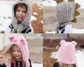 CROCHET PATTERN- Dino and kitty hooded scarf - hat crochet pattern - scarf crochet pattern
