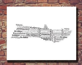 Molokai Map, Molokai Print, Molokai Art, Hawaii, Hawaiian Islands, Destination Wedding, Personalized, Custom, Typography, Housewarming Gift