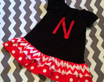 Peasant Style Nebraska Ruffle dress - Pick your size - Newborn 3 6 9 12 18 24 months 2 3 4 toddler 5 6 Years - Husker football