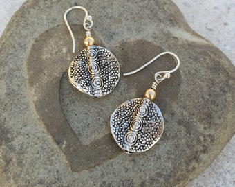 15mm Embossed Thai Silver Earrings  with 4mm Gold Fill Ball