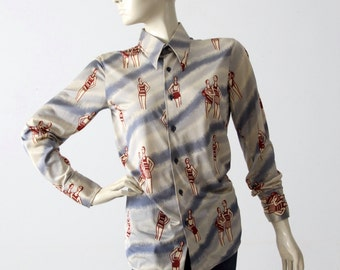 1970s Italian nylon shirt, Nik Nik style button down