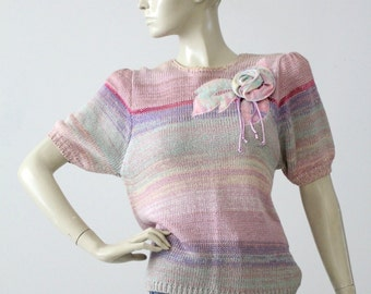 1980s pastel knit top, short sleeve sweater blouse