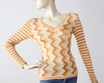 1970s zig zag knit blouse, vintage slinky chevron top