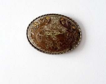 vintage belt buckle, oval plate style buckle, western rodeo buckle