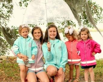 Kids Monogram Rain Jacket Girls Childrens