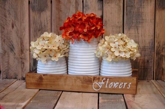 Flowers stencil honey pot rustic box table centerpiece like this item junglespirit Images