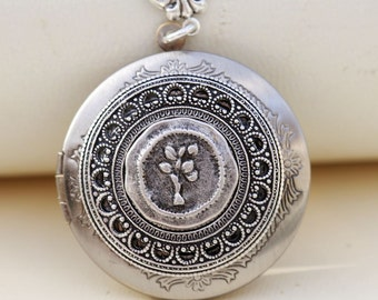 Tree of life locket,Locket Necklace,Jewelry,Pendant Necklace,Silver Locket,Leaf,Tree,Bird,Antique Style,Jewelry Gift,Locket Necklace,Wedding