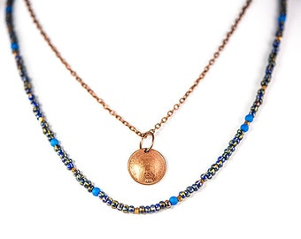 Double stranded necklace copper coin necklace with Czech glass beads
