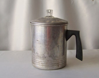 Vintage Percolator Aluminum Coffee Pot Survivalist Camping Stove Top Vintage 1970s