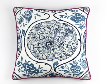 Schumacher Katsugi Pillow (shown in Blue with Fuchsia Welting-comes in 8 colors)