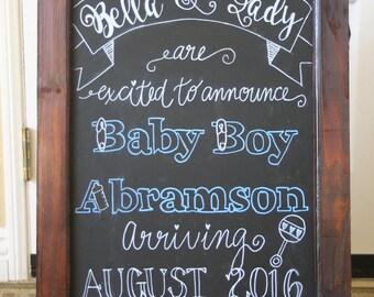 Personalized Double-Sided A-Board, Chalkboard Easel Sidewalk Sign, Sandwich Board - Baby Shower