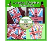 SIZE: PERSONAL Personalised London Dividers (Top or Side Tabs) for Filofax Kikki.K Planners