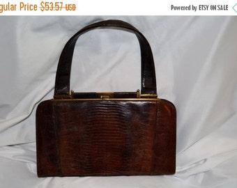 On SALE 1950s Vintage EXOTIC Leather Handbag Made in the USA Prim & Proper Pocketbook Jackie O Excellent Condition