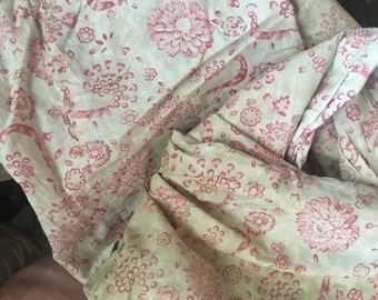C1900 Antique French Fabric Panel Mattress Cushion Cover Duvet Pink Floral Faded Timeworn P79