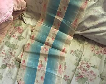 STUNNING WIDE Antique Vintage Silk Ribbon Watered Ikat Flowers Pink Blue Trim LA-77