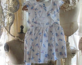 Darling Little Girl Dress Printed Novelty Fabric Blue Bears Bicycles Cars A24