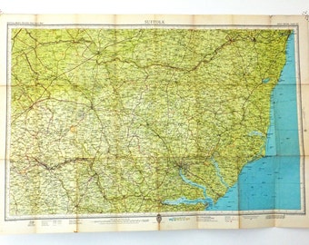 Suffolk Map. Vintage Map of Suffolk, England.  English map. Bartholomew's Map, Office Decor. Large Map. Interior design, gift for guys