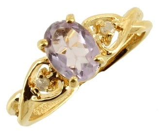 Vintage Rose de France .64CT Amethyst & Diamonds 14K Gold Plated Ring Sz 8.25
