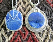 2 Lapis Lazuli Pendants from Afghanistan with Gift Chains