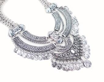 Dark Silver Statement Necklace